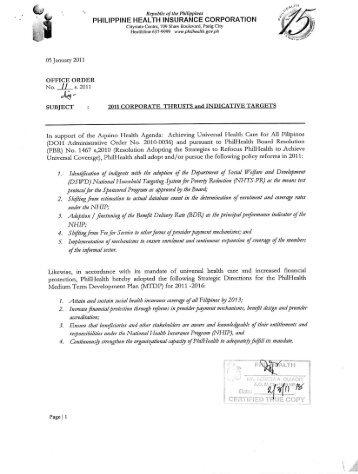 2011 - Philippine Health Insurance Corporation