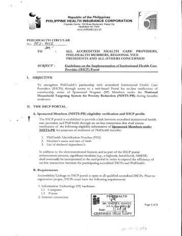 IHCP) Portal - Philippine Health Insurance Corporation