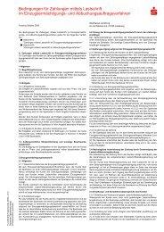 Bedingungen für Zahlungen mittels Lastschrift im - Sparkasse ...