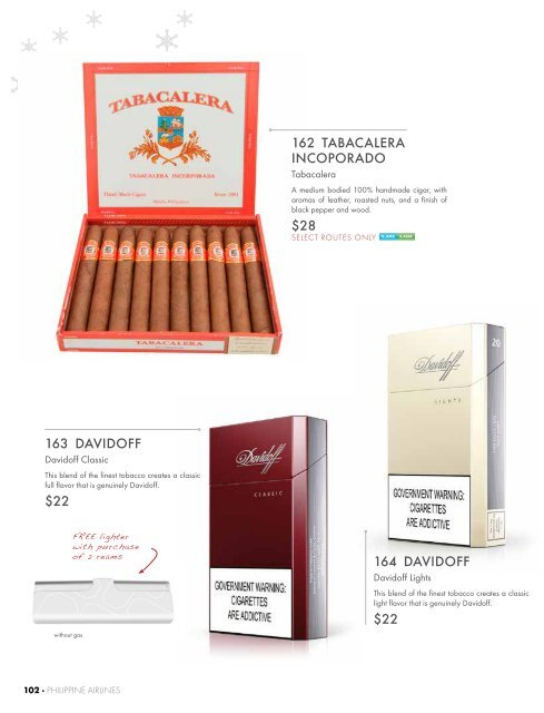 Cigarettes and Cigars - Philippine Airlines