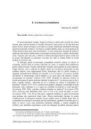 E. Lovinescu şi latinitatea - Philologica Jassyensia