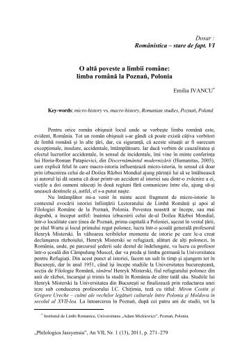 O altă poveste a limbii române - Philologica Jassyensia
