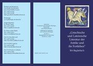 """""""Griechische und Lateinische Literatur der Antike und ihr Fortleben"""""""