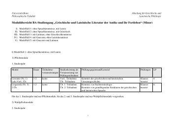 """Modulübersicht BA-Studiengang """"Griechische und Lateinische ..."""