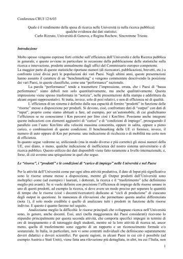 Conferenza CRUI 12/6/03 - Dipartimento di Filosofia