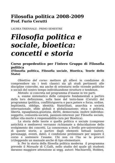 Filosofia politica 2008-2009 Prof. Furio Cerutti - Dipartimento di ...