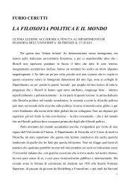 Furio Cerutti: La filosofia politica e il mondo - Dipartimento di Filosofia