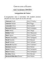 Anno Accademico 2010/2011 Assegnazione dei Tutors L ...