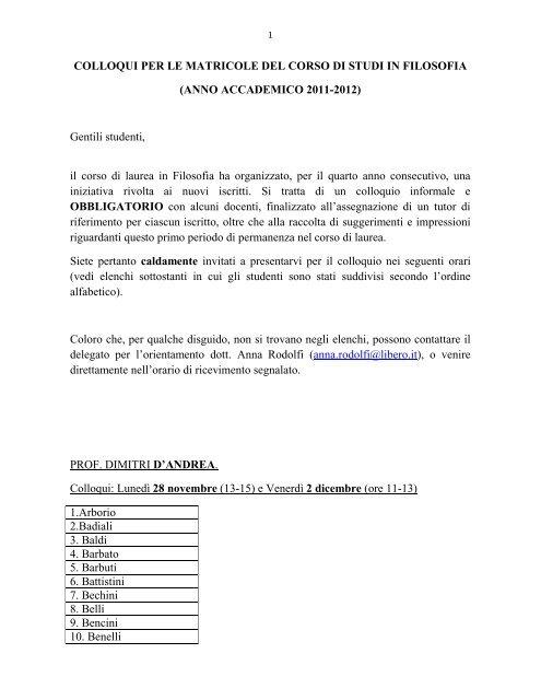 COLLOQUI PER LE MATRICOLE DEL CORSO DI STUDI IN ...