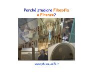 Perché studiare Filosofia a Firenze? - Dipartimento di Filosofia