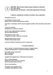 """MASTER """"Alle frontiere della scienza. Bioetica e filosofia"""" (a.a. 2011 ..."""