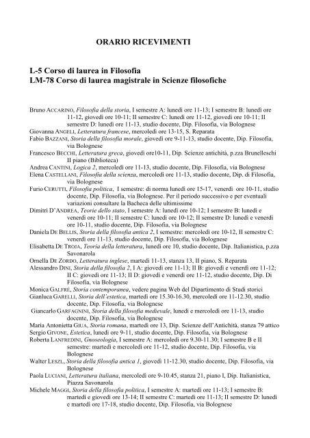 ORARIO RICEVIMENTI L-5 Corso di laurea in Filosofia LM-78 Corso ...