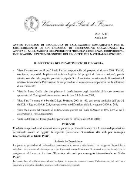 bando - Dipartimento di Filosofia - Università degli Studi di Firenze