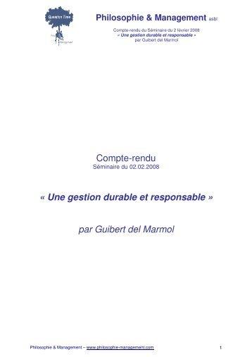 Une gestion durable et responsable - Philosophie Management