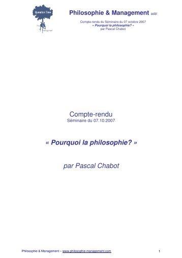 Pourquoi la philosophie? - Philosophie Management