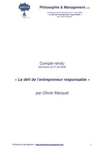 Le défi de l'entrepreneur responsable - Philosophie Management