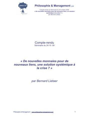 Compte-rendu - Philosophie Management