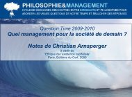 Notes relatives à la présentation de Christian Arnsperger lors