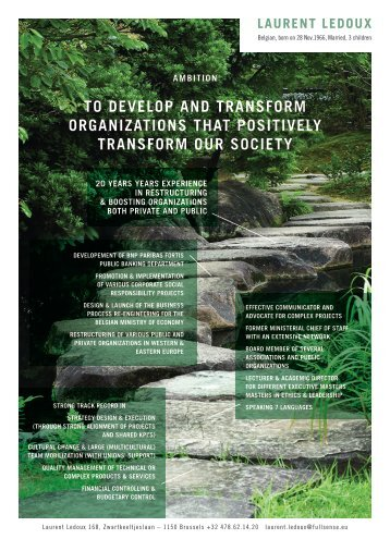 to develop and transform organizations that positively transform our ...