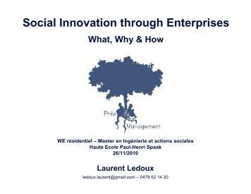 Social Innovation through Enterprises - Philosophie Management