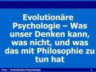 Evolutionäre Psychologie – Was unser Denken kann, was nicht, und ...