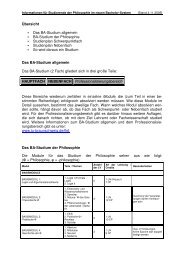 Bachelor Infoblatt - Seminar für Philosophie