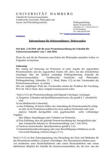 Für Doktoranden neuer Ordnung - Universität Hamburg