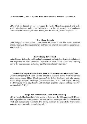 Arnold Gehlen (1904-1976): Die Seele im technischen Zeitalter ...