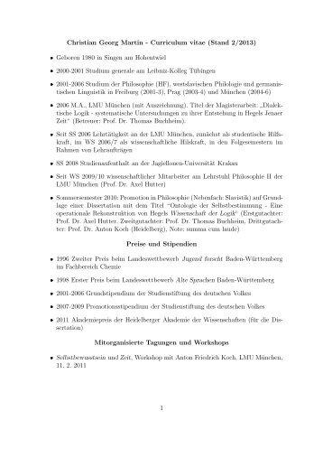 Christian Georg Martin - Curriculum vitae (Stand 2/2013 ... - LMU