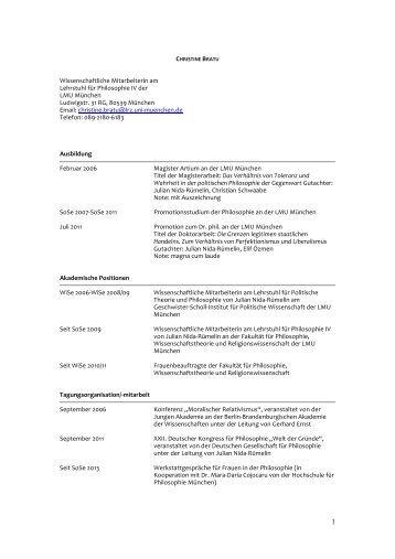 Lebenslauf als PDF - Fakultät für Philosophie, Wissenschaftstheorie