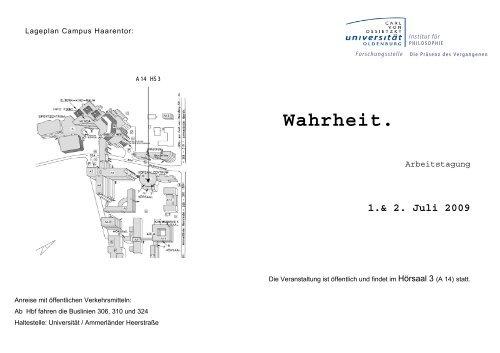 Wahrheit. - Institut für Philosophie - Universität Oldenburg
