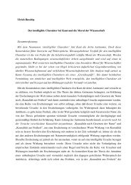 Ulrich Ruschig Der intelligible Charakter bei Kant und die Moral der ...