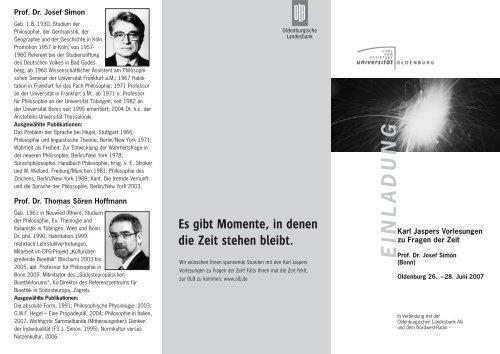 E IN L A D U N G - Institut für Philosophie - Universität Oldenburg