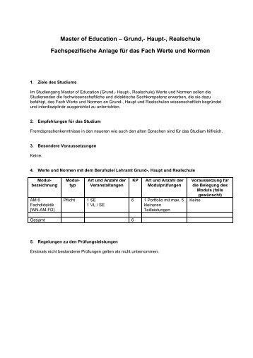 Master of Education – Grund,- Haupt-, Realschule Fachspezifische ...
