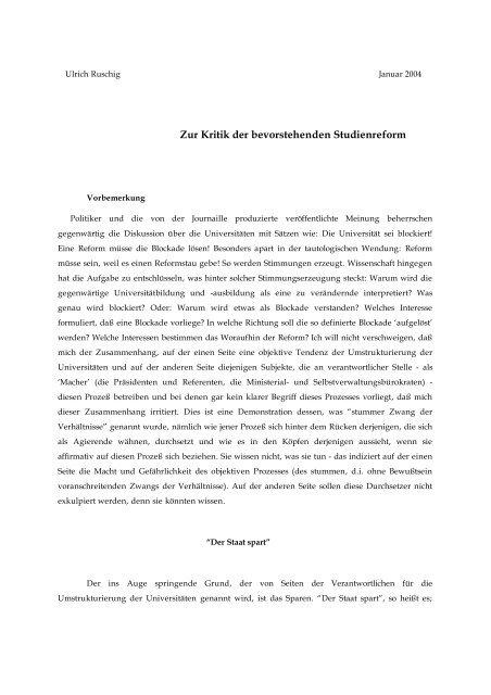 Zur Kritik der bevorstehenden Studienreform - Universität Oldenburg