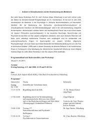 Programmablauf und Referentenliste zum Workshop: (Stand 31.10 ...