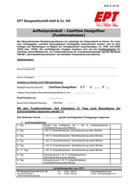Aufheizprotokoll Fur Cemflow Designfloor Designestrich Com