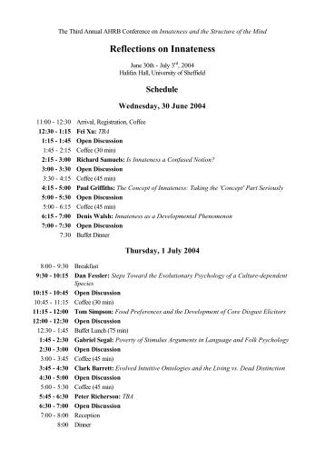 schedule now available - University of Sheffield