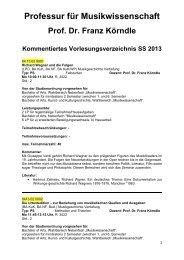 Kommentiertes Vorlesungsverzeichnis SS 2013