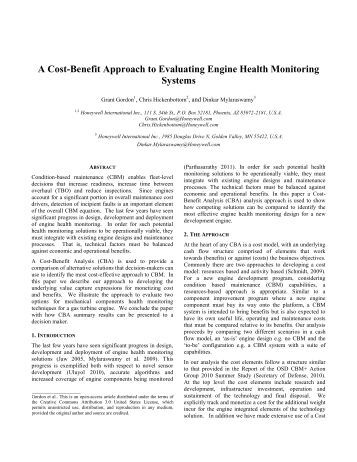 A Cost-Benefit Approach to Evaluating Engine Health ... - PHM Society