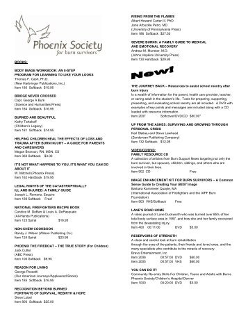 BOOKS - The Phoenix Society for Burn Survivors, Inc.
