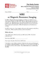 MRI or Magnetic Resonance Imaging - Phoenix Children's Hospital