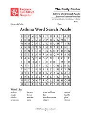 Asthma Care Word Search Puzzle #792 - Phoenix Children's Hospital