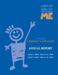 Manitoba Children's Advocate Annual Report April 1, 2008 – March ...