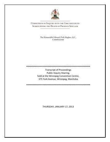 January 17, 2013 - Phoenix Sinclair Inquiry
