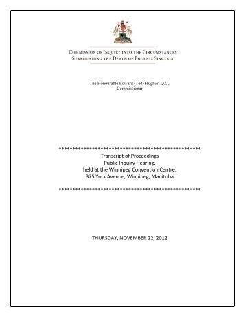 November 22, 2012 - Phoenix Sinclair Inquiry