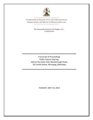 May 14, 2013 - Phoenix Sinclair Inquiry