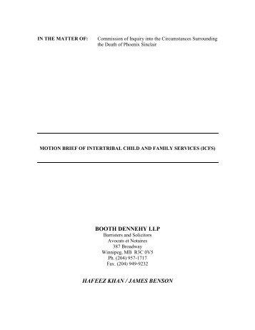 Motion Brief - Phoenix Sinclair Inquiry