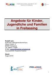Angebote für Kinder, Jugendliche und Familien in Freilassing