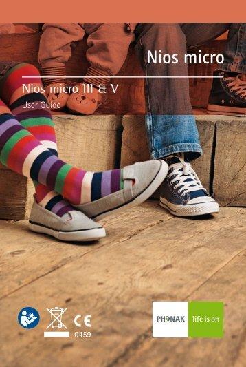 User Manual Nios micro III & V - Phonak Hearing Systems